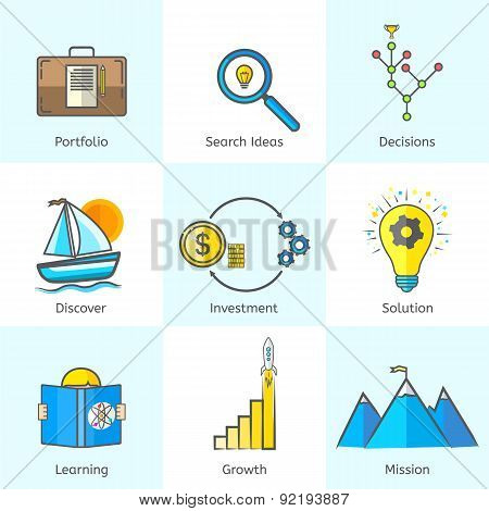 Colorful Bright Flat Line Business Icons Set with Portfoilo, Search ideas, decisions, discovery, inv