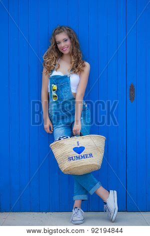 happy smiling summer woman in blue