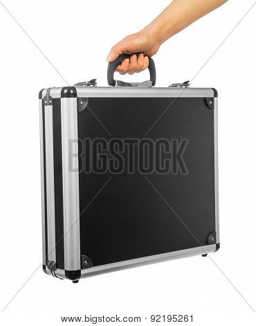 Male hand holding briefcase
