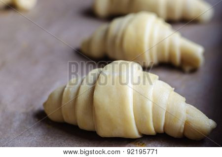 Not Baked Croissants On Oven-tray