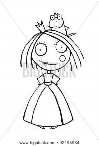 Princess and Prince Frog Portrait Coloring Page