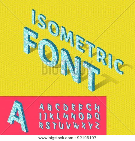 Isometric alphabet and grid, font with geometric pattern. Vector illustration for your artwork, post
