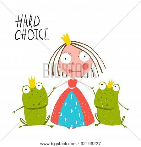 Princess Making Choice between Two Prince Frogs