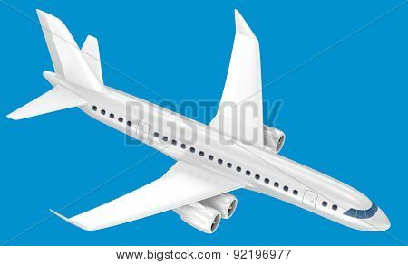 Airplane Isolated On Blue. My Own Design