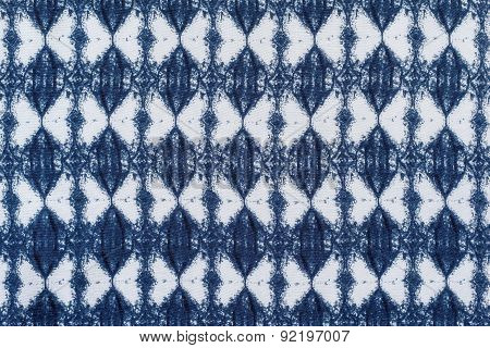 White Blue Fabric With A Rhombic Pattern
