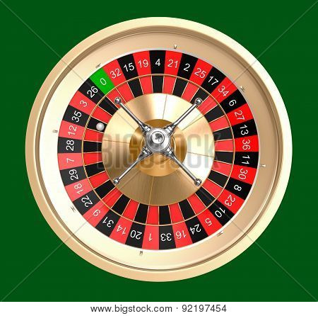 Casino Roulette Top View, Isolated
