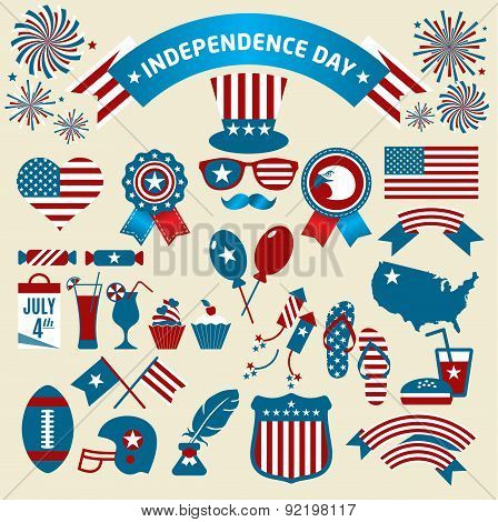 Et Of Color Independence Day. Vector Icons