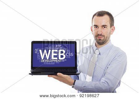 Businessman Holding Laptop With Web Development Concept