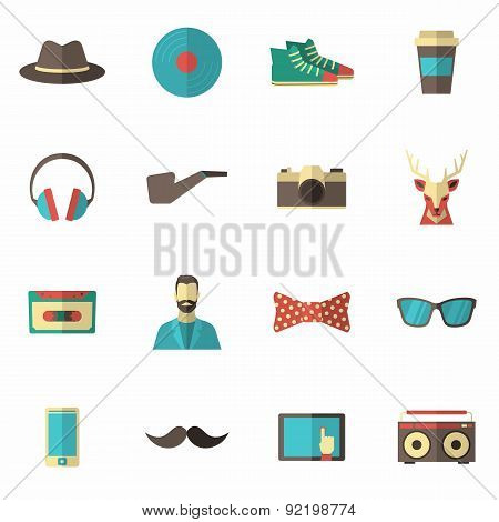 Hipster Icon Flat Set