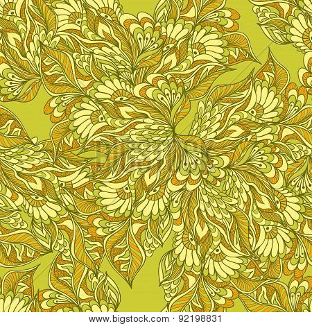 Seamless pattern with doodle flowers in green