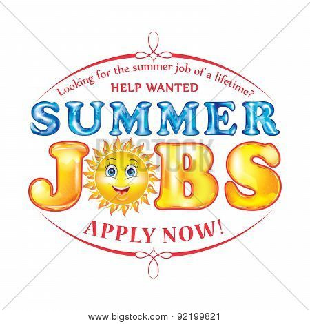 Summer jobs label / sticker, also for print