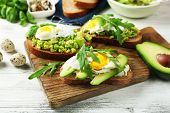 image of avocado  - Tasty sandwiches with egg - JPG