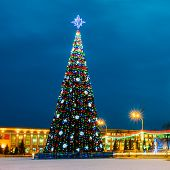 image of lenin  - Main Christmas Tree And Festive Illumination On Lenin Square In Gomel. New Year In Belarus.