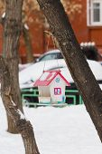 picture of house woods  - Trough in form of house hangs in winter park on tree - JPG