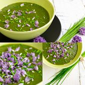 stock photo of edible  - Swiss chard and potato cream soup with chopped chives with edible chives flowers in green ceramic bowl - JPG