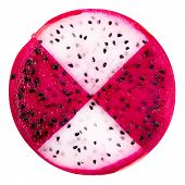 picture of dragon fruit  - concept of part slice red and white dragon fruit Pitaya or Cactus is isolated on white background - JPG