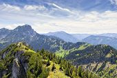 stock photo of bavaria  - Landscape on the mountain Breitenstein in the Alps with view to Wendelstein in Bavaria Germany - JPG