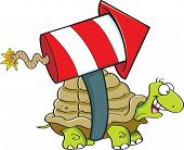 picture of turtle shell  - Cartoon illustration of a turtle with a rocket on his back - JPG
