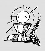picture of eucharist  - Hand drawn vector illustration or drawing of a Cup a Host bread grapes and wheat representing Eucharist Catholic Sacrament - JPG
