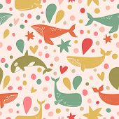pic of whale-tail  - Stunning seamless pattern with cute whales in bright vintage colors - JPG