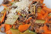 image of chinese parsley  - steamed vegetables and meat with sesame - JPG