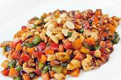 foto of chinese parsley  - steamed vegetables and meat with peanut - JPG