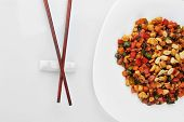 foto of chinese parsley  - steamed vegetables and meat with peanut on plate - JPG
