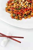 pic of chinese parsley  - steamed vegetables and meat with peanut on plate - JPG