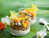 stock photo of breakfast  - Healthy breakfast with exotic fruits - JPG