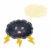 picture of lightning bolt  - cartoon cloud and lightning bolt symbol with speech bubble - JPG
