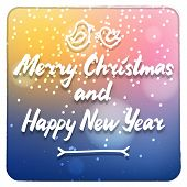 stock photo of merry christmas text  - Merry Christmas and Happy New Year calligraphy cute blue pink and yellow colors card with white  text and birds vector winter holidays colorful illustration in white retro frame - JPG