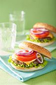 foto of beef-burger  - burger with beef patty cheese lettuce onion tomato - JPG