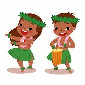 picture of hula dancer  - illustration of hawaiian boy playing drum and hawaiian girl hula dancing - JPG