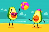 picture of ball cap  - Illustration of two avocados playing ball at the beach - JPG