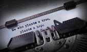 pic of hope  - Vintage inscription made by old typewriter He who plants a tree plants a hope - JPG