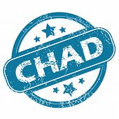 image of chad  - Round rubber stamp with word CHAD and stars - JPG