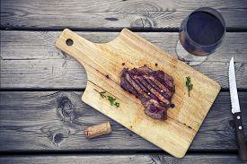 stock photo of gourmet food  - BBQ steak - JPG