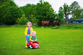 picture of feeding horse  - Family on a horse farm in summer - JPG