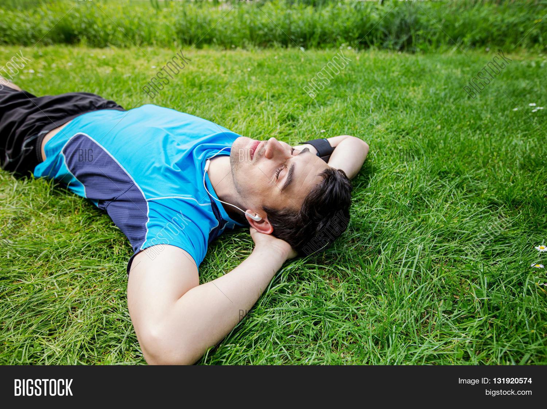 Relaxing Guy Gets Stuffed Outdoor