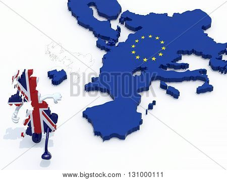 map of United Kingdom with arms and legs that runs away from Europe 3d illustration