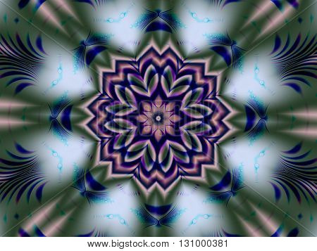 Kaleidoscopic fractal resembling silk scarf with folds and creases