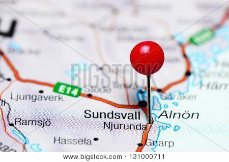 Njurunda pinned on a map of Sweden