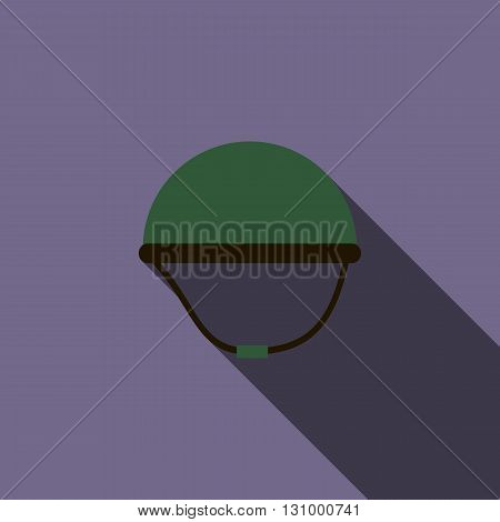 Military helmet icon in flat style on a violet background