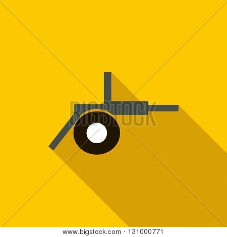 Cannon field artillery icon in flat style on a yellow background