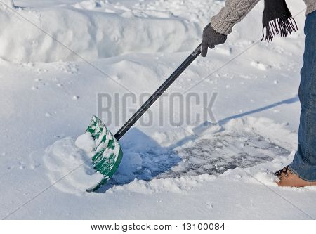 Snow Shovel Pushing Snow