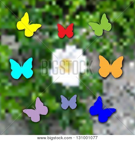 White flower on green and colored butterflies.Vector art illustration