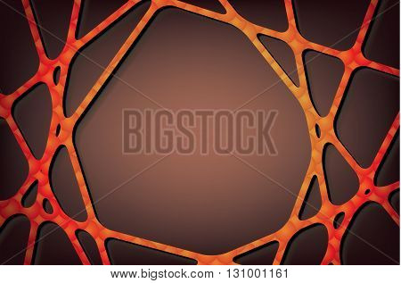 Textured orange lines on brown background orange spider web border abstract background with shadow frame vector