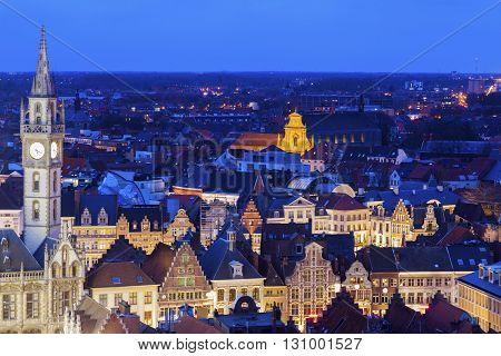 Ghent Clock Tower and city panorama. Ghent Flemish Region Belgium.