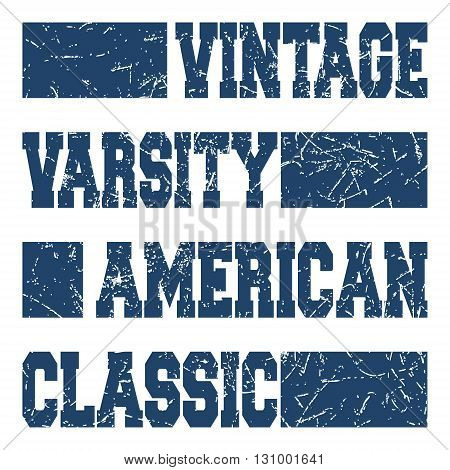T-shirt print design. American classic vintage stamp or poster. Printing and badge applique label t-shirts jeans casual wear. Vector illustration.