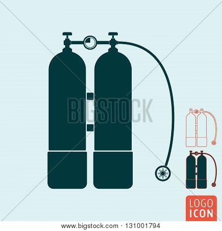 Aqualung icon. Scuba diving equipment symbol. Vector illustration